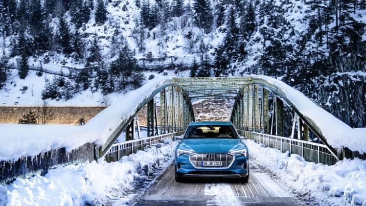 Audi E-tron in snow